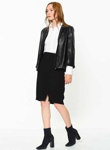 Selen Deri Görünümlü Ceket Siyah